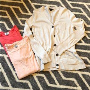 Gap tan cardigan & 2 free old navy shirts